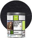 Barniz Madera Exterior   Bio-based Wood Stain   1 L   Barniz ecológico para todo tipo de madera   Lasur madera exterior   color Negro   Flexible y transpirable, resistente al agua y al moho