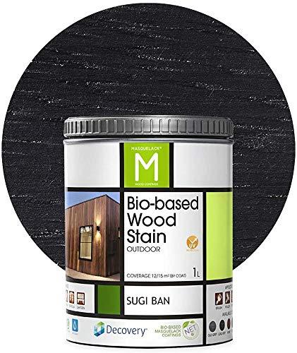 Barniz Madera Exterior | Bio-based Wood Stain | 1 L | Barniz ecológico para todo tipo de madera | Lasur madera exterior | color Negro | Flexible y transpirable, resistente al agua y al moho