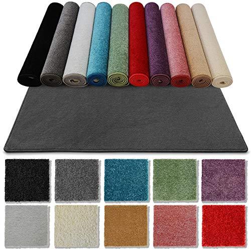 casa pura Teppich Läufer Carousel für Flur, Wohnzimmer etc. | Auch als Badteppiche nach Maß | wasserabweisend und pflegeleicht | viele Farben und Größen zur Auswahl (Anthrazit, 100x800 cm)