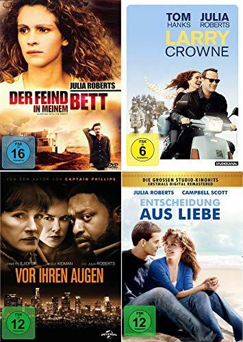 Julia Roberts 4-Filme Collection: Der Feind in meinem Bett + Vor ihren Augen + Larry Crowne + Entscheidung aus Liebe [4er DVD-Set]
