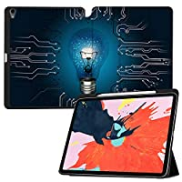 "MAITTAO Built-in Apple Pencil Holder & Charging For iPad Pro 12.9"" Case (3rd Gen) 2018 Release, Folio Leather Stand With Auto Sleep/Wake Cover For Apple iPad Pro 12.9 Inch 2018,Creative Bulb 19"
