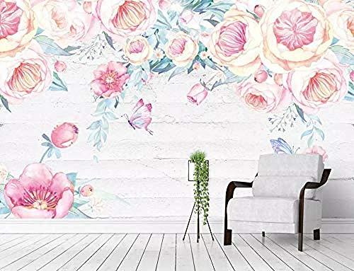 Murales de pared de flores rosadas botánicas dibujadas a mano acuarela Pared Pintado Papel tapiz 3D Decoración dormitorio Fotomural de estar sala sofá mural-250cm×170cm