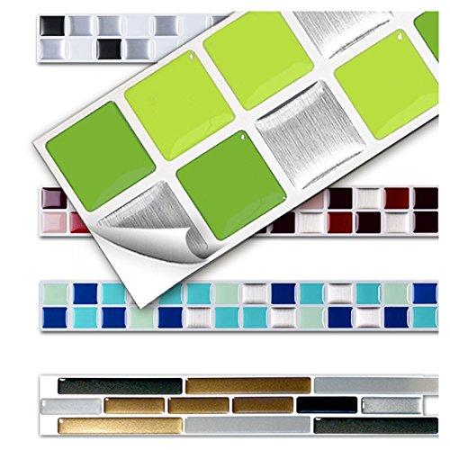Wandora 7 Stück 25,3 x 3,7 cm Fliesenaufkleber Verschiedene Grüntöne Design 9 I 3D Mosaik Küche Bad Fliesendekor Aufkleber Wandaufkleber Wandsticker W1431