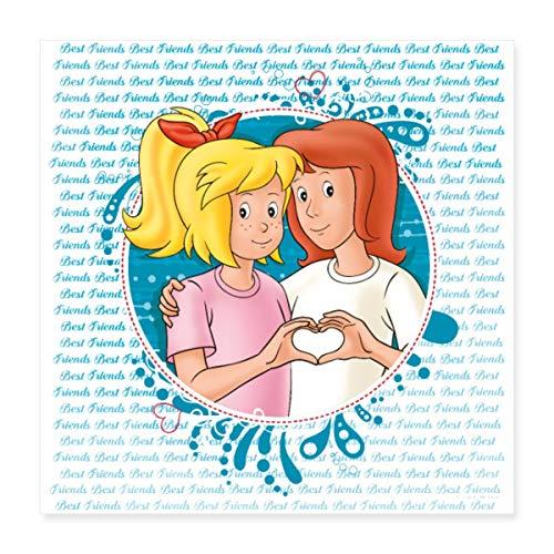Spreadshirt Bibi und Tina Freundschaft Herzgeste Poster 40x40 cm, Weiß