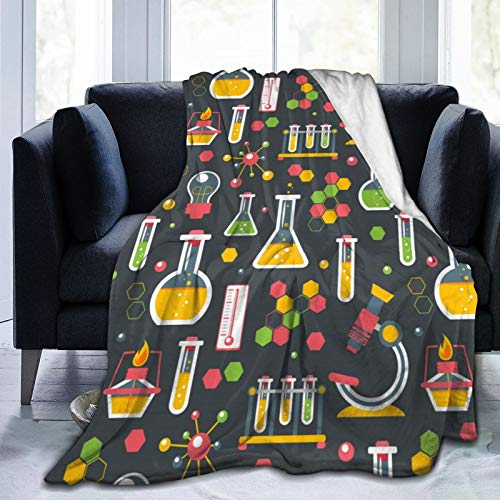 Flannel Fleece Blanket Full Size Chemistry Test Tube Microscope Blanket,All-Season Plush Blanket for Couch Bed Travelling Camping Or Kids Adults 50'X40'