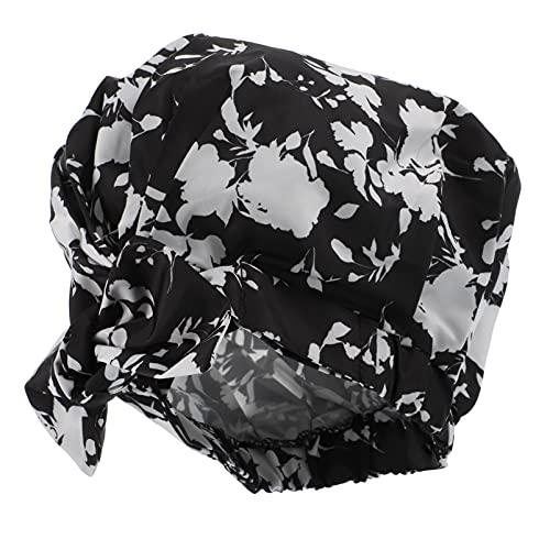 DOITOOL Gorro de Ducha para Mujer Turbante con Estampado de Flores Gorros de Baño Reutilizables Impermeables Gorros Secos Gorros de Ducha Tejidos Negros para Mujeres Niñas Pelo Largo