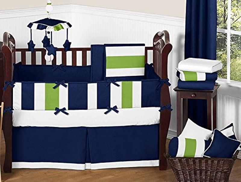 Sweet Jojo Designs 9 Piece Navy Blue And Lime Green Stripe Baby Boy Bedding Crib Set