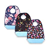 3 Pack Adult Bib for Eating Washable Reusable Waterproof Clothing Protector with Optional Crumb Catcher Elder Bibs Set (3 Pcs)
