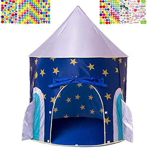 Mgee Kinderzelt Junge Rakete Spielzelt Castle Tragbare Faltbare Pop Up Zelt für Drinnen und draußen, Geschenke für Kinder (F-Rakete)