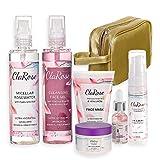 ClaRose - Pack antienvejecimiento con crema facial hidratante, crema para el contorno de los ojos, sérum facial, agua micelar, gel limpiador y mascarilla facial con aceite de rosas y ácido hialurónico