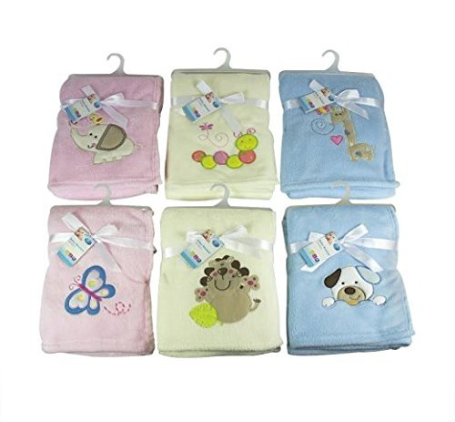 Luxury Soft Fleece Baby Blanket with Butterfly Applique 75 x 100cm for Babies from Newborn