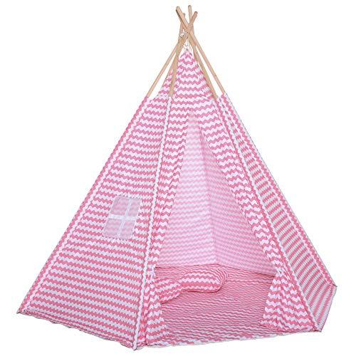 HOMCOM Tienda de Campaña para Niños Tipi Infantil Estilo Indio con Ventana Cubierta de Suelo y 2 Almohadas Bolsa de Tranporte Interior y Exterior 200x200x170 cm Rosa