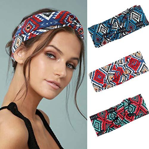 IYOU Boho-Stirnbänder für Yoga, dehnbares Schweißband, Sport, elastische Haarbänder, geknotet, breit, schwarz, für Damen und Mädchen (3 Stück)
