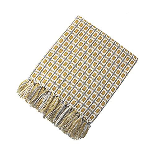 YXXHM- Cómodas Mantas Amarillas, Mantas de Punto de Punto para almuerzos, Sofá de Verano Mantas de tapicería 130x170cm