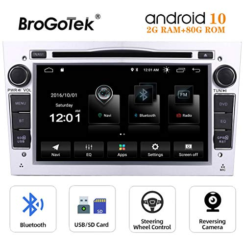 Radio Android 10 Coche Autoradio para Opel Vauxhall Corsa Zafira Antara Astra Vectra Meriva 7 Pulgadas 2 DIN Navegación GPS Reproductor de DVD Bluetooth Pantalla Táctil WiFi 4G 80GB ROM Plata