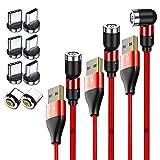 DAIAD マグネット 3in1 充電ケーブル 0.5M×1本 1M×1本 + 2M×1本 + Type-C プラグ×4個 + Micro-USB プラグ×4個 急速充電 データ転送 レッド