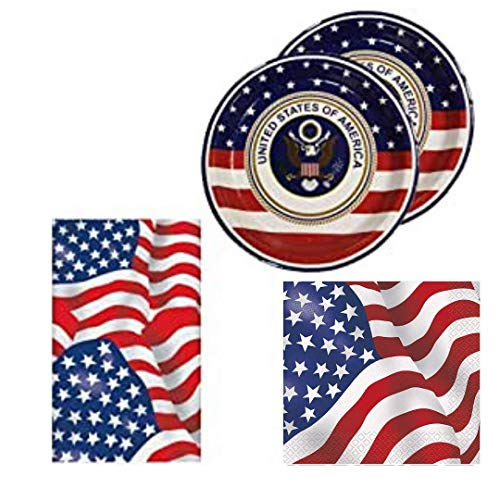 USA American Flag Tableware Pack for 16, with plates, napkins, tablecover