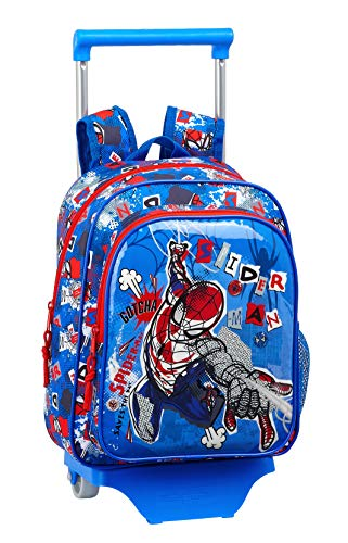 safta 612043020 Mochila pequeña Ruedas, Carro, Trolley Spiderman, Azul