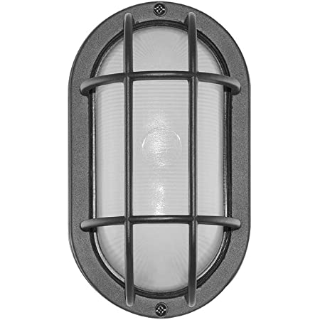 Noma Outdoor Bulkhead Light Marine Style Light Waterproof Outdoor Wall Lantern White Oval Shaped Light With Bevelled Glass Panels Amazon Com