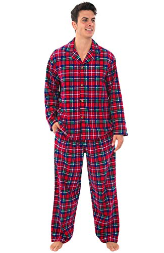 Alexander Del Rossa Men's Lightweight Flannel Pajamas, Long Cotton Pj Set, Medium Red Green and Blue Christmas Plaid (A0544Q19MD)