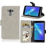 Funda ASUS Zenfone 3 MAX ZC553KL 5.5inch Case,Bookstyle 3 Card Slot PU Cuero Cartera para TPU Silicone Case Cover(Blanca)