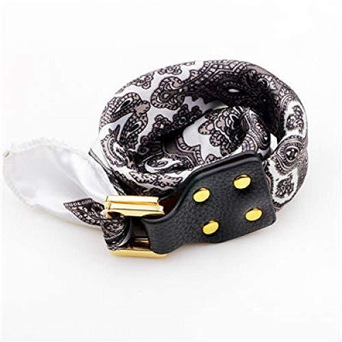 Damen Lederarmband,Vintage Leder Geflochten Armreifen Grauer Seide Schals Blume Drucken Schnalle Handgelenk Charme Bracelets Persönlichkeit Männer Jungen Frauen