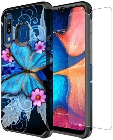 Galaxy A20/A30/A50 Case w[Tempered Glass Screen Protector] Girls Women Silicone Defender Heavy Duty Protective Phone Cover Cases Compatible for Samsung Galaxy A20/A30/A50/A205U - Blue Butterfly