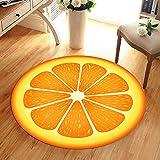 WANGXN Schlafzimmer Teppiche Orange 3D Moderne Waschbar Krabbeln Mat Rund Vorleger Computer Stuhl Bodenmatte Drucken,200cm