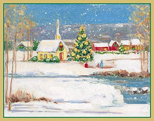 Caspari Church with Snow Christmas Boxed Cards, 15 cards envelopes