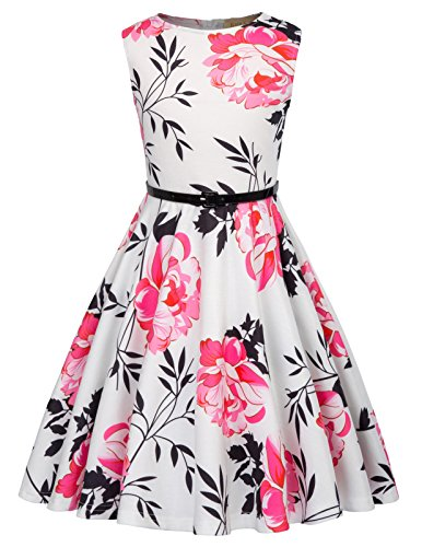 Kate Kasin Formal Dresses for Girl Sleeveless Holiday Dresses with Belt 11-12 Years K884-2