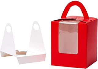Walk Arrive Cupcake Box Clear Display Window with Strong Handle and Secure Insert Cake Box Bakery Box Cupcake Carrier Cupcake Holder Container for Baby Shower Wedding Birthday Festival Party (10, Red)