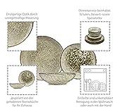 Sänger Dinner Service Pompei aus Porzellan 12 teilig für 4 Personen | Füllmenge der Schalen 700 ml | Tellerset im Vintage-Stil Grau Braun, Geschirrset, Porzellanservice - 4