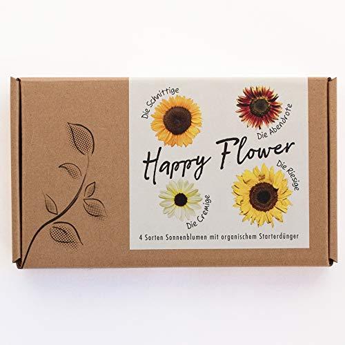 """Blumensamen-Geschenkset\""""Happy Flower\"""" - 4 Sorten Sonnenblumen im Geschenkkarton"""
