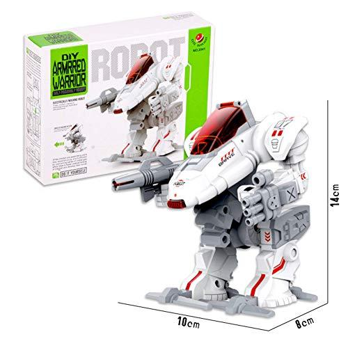 Serie De Robot Eléctrico Bloque De Construcción Juguetes De Bloque DIY Robots Blindados Simulación Juguetes 10 * 8 * 14 Cm Blanco