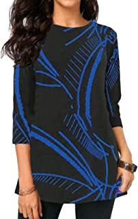 Womens' null Regular-Fit 3/4 Sleeve Round Neck Print T-Shirt Casual Blouses