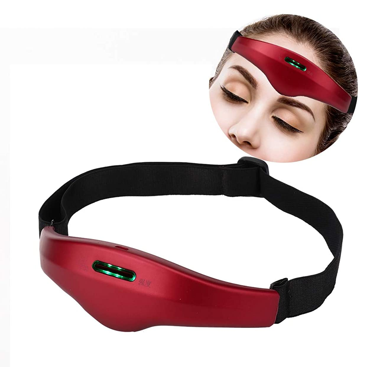 インド橋脚田舎者電気ヘッドマッサージャー、ストレス解消のためのコントロールネックマッサージャーとより良い睡眠の声インテリジェント睡眠マッサージ装置(Vermilion Red)