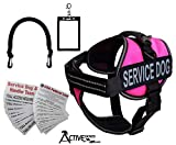 """Activedogs Service Dog Vest Harness + Free Clip-on Bridge Handle + Free Clip-on ID Carrier + Free ADA Cards + Free Reflective Service Dog Patches (S (Girth 19""""-24""""), Hot Pink)"""