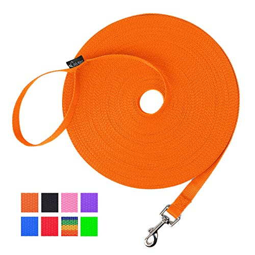 Hi Kiss Dog/Puppy Obedience Recall Training Agility Lead  15ft 20ft 30ft 50ft 100ft Training Leash  Great for Training Play Camping or Backyard  Orange 30ft