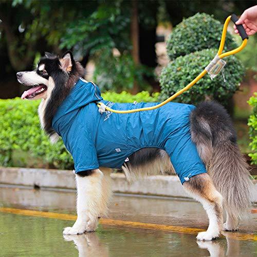 Chubasqueros Impermeables para Mascotas Perros con Capucha para Perro Mediano y Grande con Collar Agujero Tiras Reflectoras Transpirable Impermeable Chaqueta para Lluvia/blue/L