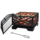 26' 2 in 1 Square Fire Pit BBQ Grill mit Regal & Spark Screen Cover & Poker, Holzkohlegrill, Smoke Grill Outdoor Gartentischherd Patio Heater