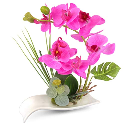 Yobansa Dekorative echte Berührung gefälschte Orchidee Bonsai künstliche Blumen mit Imitation Porzellan Blumentöpfe Phalaenopsis Blumenarrangements für Home Decoration (Rose 01)