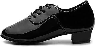 HROYL Mens Dance Shoes Ballroom Dance Shoes Men Latin Salsa Jazz Leather Low Heel Lace up Dance Shoes for Men,W-701