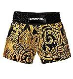 SMMASH Story Profesionalmente Pantalones Cortos de Muay Thai Hombre, de Boxeo, Artes Marciales, BJJ, Grappling, Krav Maga, Material Transpirable y Antibacteriano, (S)