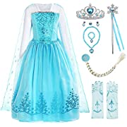 ReliBeauty Girls Sequin Princess Costume Long Sleeve Dress up, Light Blue(with Accessories), 7 (Asian 150)
