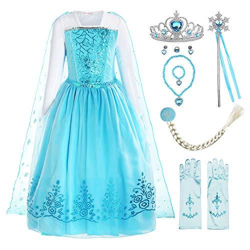 ReliBeauty Disfraz de niña Disfraz de Copo de Nieve de Lentejuelas Plisadas de Manga Larga Frozen Princess Elsa,con accessori (5-6)
