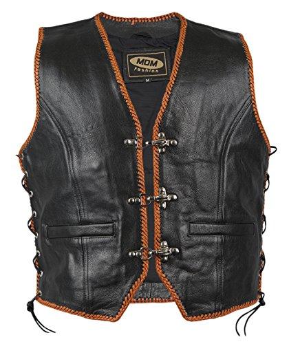 MDM Gilet Noir Cuir Biker avec Bordure Orange (XL)