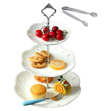 Jusalpha 3-tiered White Ceramic Cake Stand Dessert Stand-Cupcake Stand-Tea Party Serving Platter, home decor (3RW Silver)