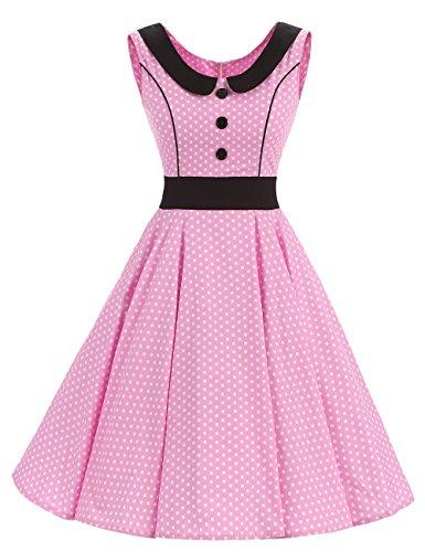 VKStar® Rétro Vintage Femme Robe Col Claudine Robe de Soirée à Pois/à Carreaux/Imprimée Rockabilly Robe Boutons Devant A-Line Rose L