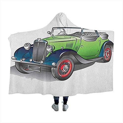 Cars Wearable Hooded Blanket Hood Poncho Hand gezeichnete Cabrio Oldtimer grün mit bunten Felgen Retro Fahrzeug Design Print Wearable Hooded Blanket für Erwachsene und Kinder grün grau 60 x 50 Zoll