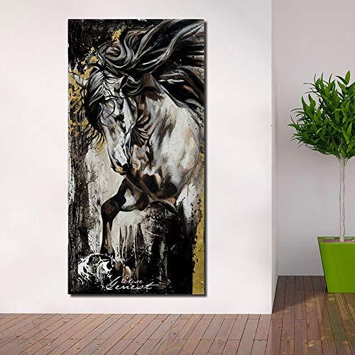 KWzEQ Leinwanddrucke Vintage Pferd Wohnzimmer HD Print Leinwand Ölgemälde Home Decor60x120cmRahmenlose Malerei